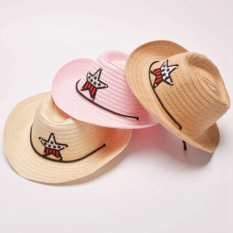8 Colors Outdoor Boy <font><b>Cowboy</b></font> <font><b>Hat</b></font> Summer Cute Star Straw <font><b>Hat</b></font> For Boys Girls Children's Star Patch Sun <font><b>Hat</b></font> Cute Kids Cap image