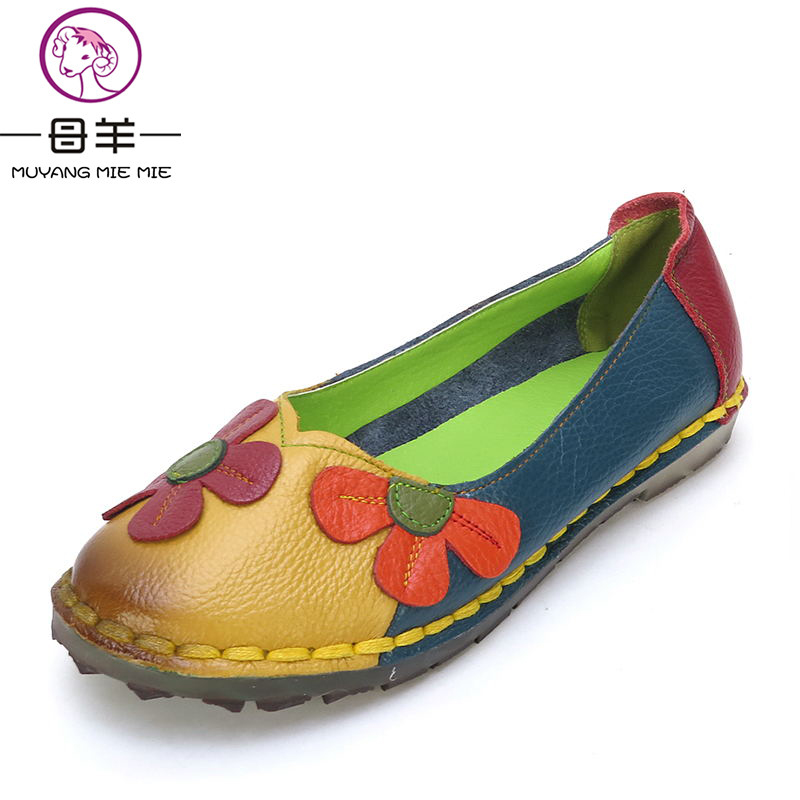 MUYANG MIE MIE Women Flats Fashion Genuine Leather Flat Shoes Woman Comfortable Flower Mixed Colors Shoes Women Shoes muyang mie mie genuine leather women shoes woman casual flower single flat shoes soft comfortable women flats