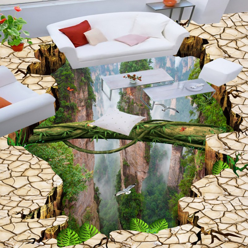 Free Shipping Forest valleys mountain bathroom kitchen 3d floor moisture proof self-adhesive non-slip flooring wallpaper mural free shipping marble texture parquet flooring 3d floor home decoration self adhesive mural baby room bedroom wallpaper mural