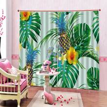 Luxury Blackout 3D Window Curtains painting pineapple for living room bedroom office home curtains(China)
