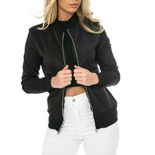 Women Basic Jacket Zipper Bombers Collar Coats Slim Casual Outwear Female Spring Autumn Coat Jackets Fashion Solid Color Ladies