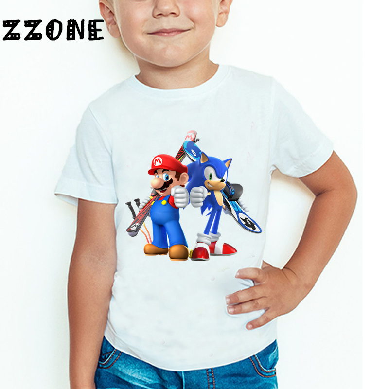 Children Sonic The Hedgehog With Mario Cartoon Funny T shirt Boys Girls Super Mario Bros Summer Tops Kids Baby Clothes,HKP5135 boy girl baby cartoon super mario youth s t shirt fashion anime mario design printed kid t shirt hipster cool tops tee z37 8