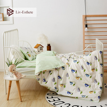 Liv-Esthete 2019 New 100% Cotton Cute Car Kids Cartoon Blue Bedding Set Duvet Cover Pillowcase Bed Linen For Mom Baby 3Pcs