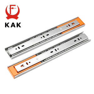 "KAK 10"" - 22"" Stainless Steel Drawer Slides Soft Close Drawer Track Rail Sliding Three-Section Cabinet Slides Furniture Hardware(China)"