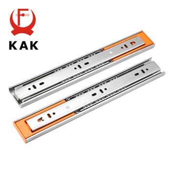 KAK 10 - 22 Stainless Steel Drawer Slides Soft Close Drawer Track Rail Sliding Three-Section Cabinet Slides Furniture Hardware g mute three drawer track rails 12 inches 30c 0 8 $ inch