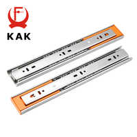 KAK 10 - 22 Stainless Steel Drawer Slides Soft Close Drawer Track Rail Sliding Three-Section Cabinet Slides Furniture Hardware
