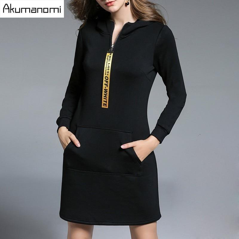 Winter Thicken Dress Hooded Ribbons Zipper Pocket Full Sleeve Womens Clothes Autumn Spring Dress Fashion Plus Size 5XL 4XL 3XL