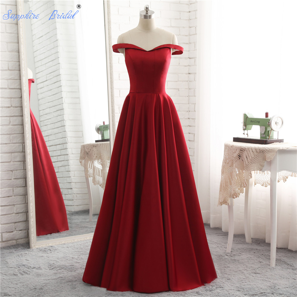 Sapphire Bridal 2018 Spring Collection Boat Neck A Line Burgundy   Bridesmaid     Dresses   Simple Satin Wedding Party Gowns