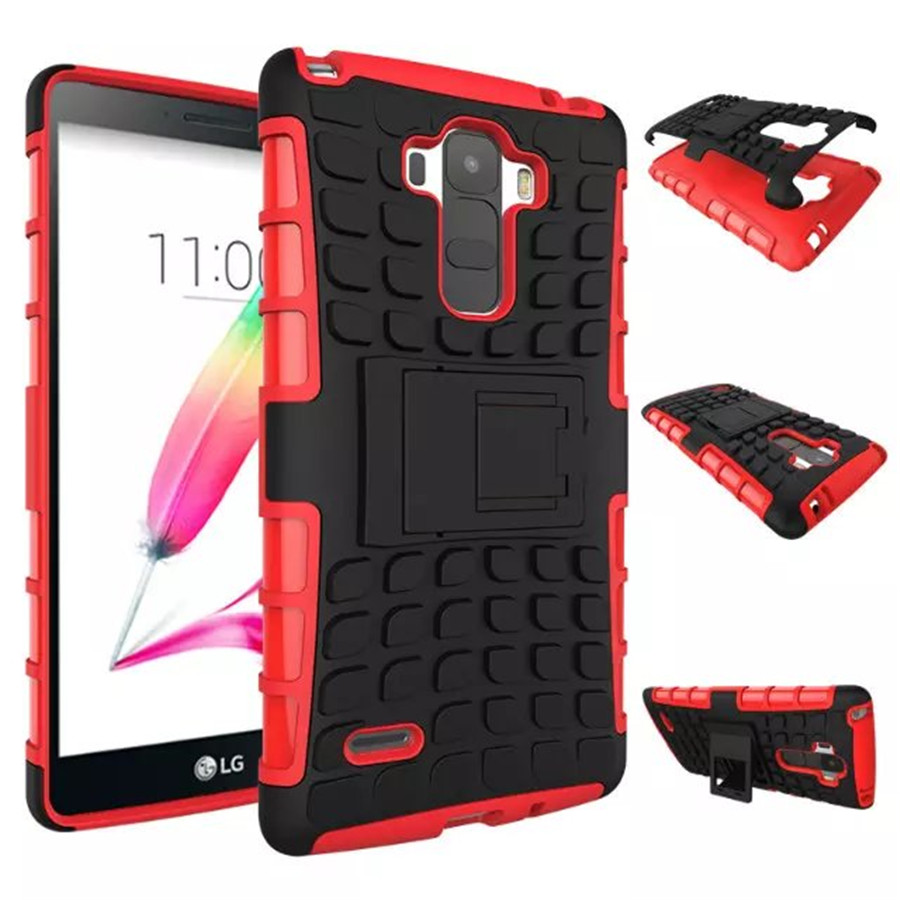 For LG G Stylo Hybrid Soft Rubber Silicone + Hard PC Shell Phone Case For LG G4 Stylus Shockproof Stent Cover