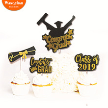 5pcs/bag Graduation 2019 Theme Diploma Cake Topper Set Cupcake Decoration Happy Ceremony Party Supplies