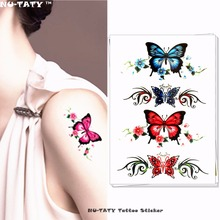 Nu-TATY Beautiful Butterfly Pattern Temporary Tattoo Body Art Flash Tattoo Stickers 17x10cm Waterproof Fake Styling Sticker