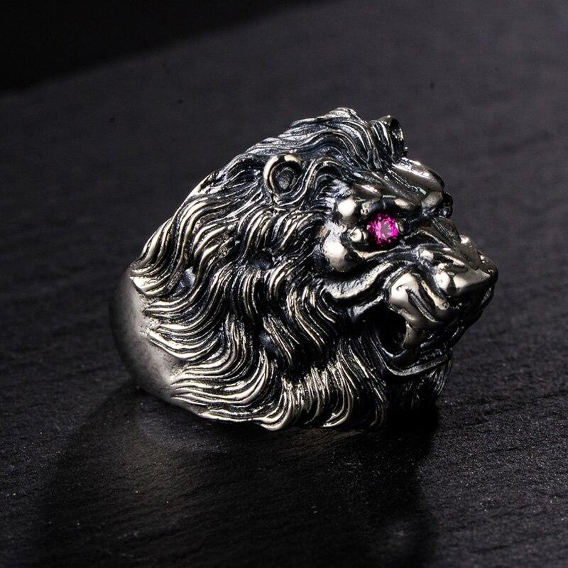 Véritable 925 bague en argent Sterling Lion roi pour les hommes avec des yeux rouges incrustés CZ pierre Animal mâle anneau bijoux fins