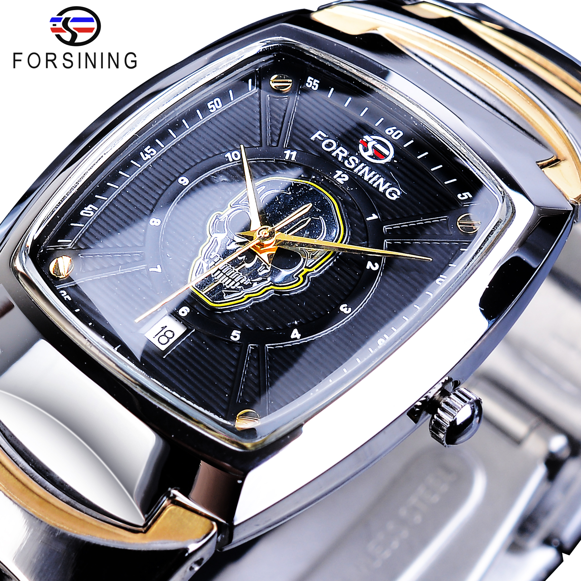 Forsining Skull Head Design Casual Watch Date Function Stainless Steel Band Men Wristwatches Ghost Skeleton Pattern Quartz Clock