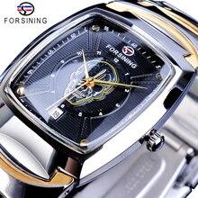 цена на Forsining Skull Head Design Casual Watch Date Function Stainless Steel Band Men Wristwatches Ghost Skeleton Pattern Quartz Clock