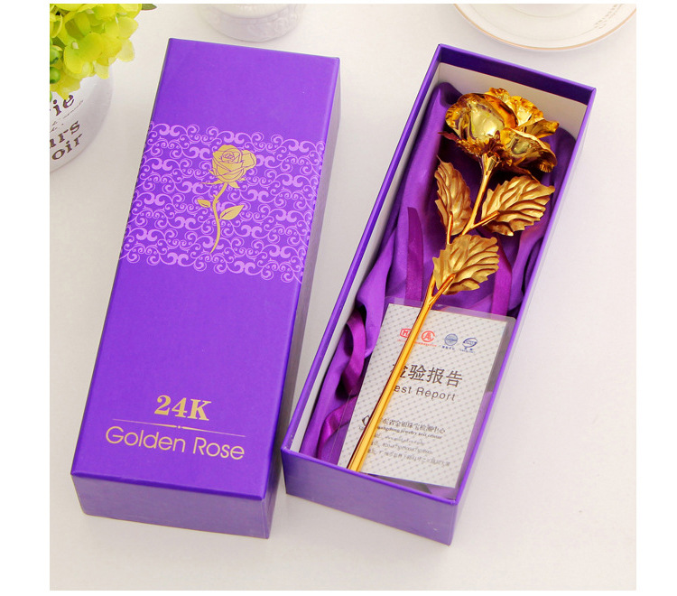 Best Gift For Girlfriend Golden Rose Wedding Decoration Golden Flower Valentine's Day Gift Gold Rose Gold Flower with Box  -15