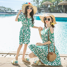 leaf mother daughter off shoulder dresses mommy and me clothes family matching outfits look mom mum dress clothing