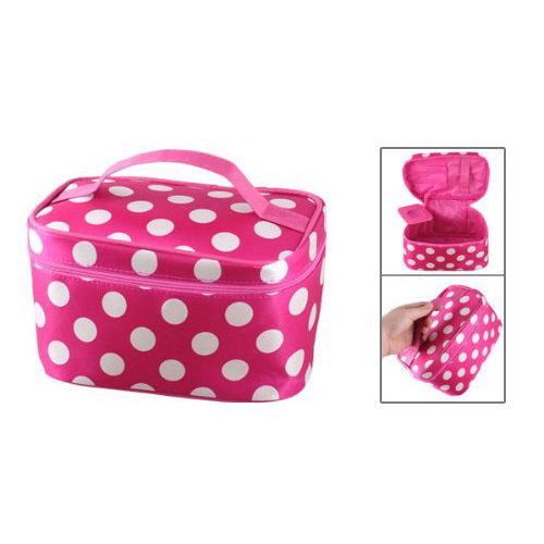 Wholesale 10* New Zipper Closure White Dots Pattern Dark Pink Cosmetic Hand Case Bag