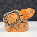 2016 estilo de La Moda de diseño de la flor mujer pretina de bronce hebilla del color del caramelo cinturones de mujer buena SY184 cintos envío libre