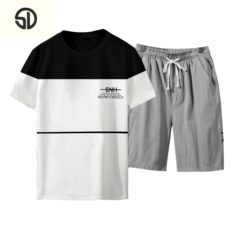 Tracksuit Men Set Clothing Fitness Tight Mens Suits Short Sleeve Sportswear Slim Fit Elastic Clothing Men Sets Shirt+Shorts 2018