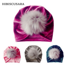 Velvet Baby Hat Faux Fur Pompom Toddler Girl Caps Kids Autumn Winter Turban Hat Xmas Festival Headwear Photo Props Accessories(China)