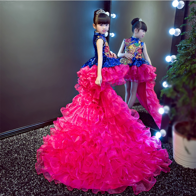 Luxury Princess Dress Crystal Flower Girl Dresses Long Tailing Kids Pageant Dress Wedding Ball Gown Girls Formal Dress Party B64 top quality new year girls dresses pageant princess flower dress for girl kids clothing formal wedding party gown page 8