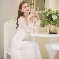Sexy Cotton Nightgowns Women Vintage Nightgowns Princess Nightdress Fairy Nightwear Long Nightgown Sexy Lingerie Lace Robe