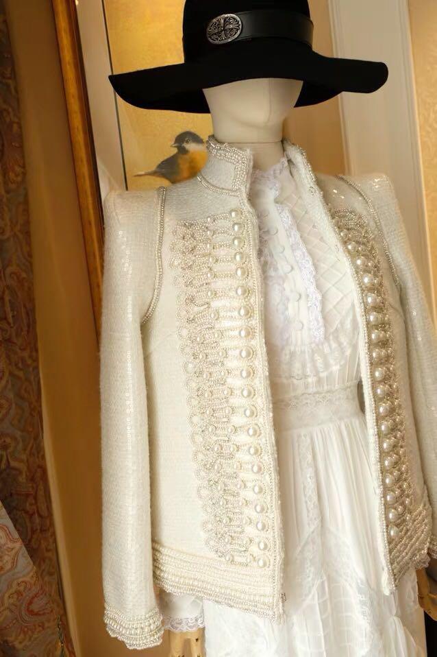 Luoanyfash blanc brodé pailleté veste perles Appliques épaule Pad manches longues Luxy manteau pour les femmes 2019 nouveau femme