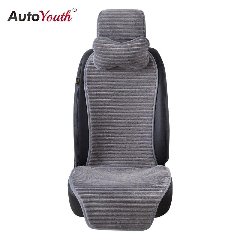 Autoyouth nuevo invierno nano terciopelo asiento de coche con reposacabezas 5 Color Universal asiento de coche Cojines protector coche de estilo