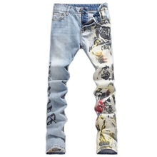 2016 New Men printing Coloured drawing or pattern Nightclubs Jeans,Pencil Pants Denim Jeans Men,plus-size 28-40