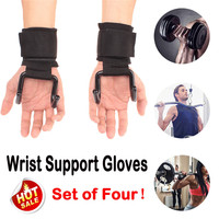 2 Pair Weightlifting Wrist Support Gloves Power Weight Lifting Training Gym Hook Grips Straps Wrist Support Gloves #2P15