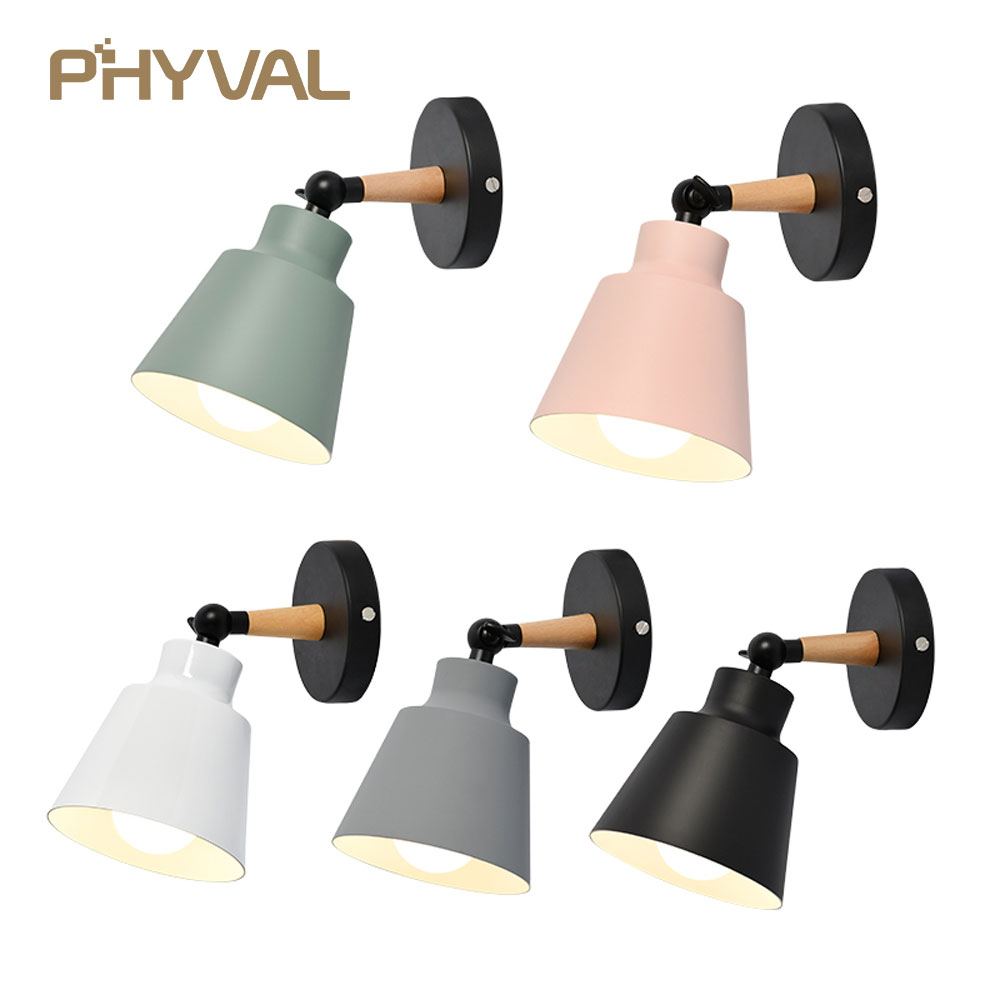 LED Wall Lamp Wood Nordic Wall Lights Macaroon Modern Wall Lamps Bedroom Beside LED Lights Living room Restaurant Lighting E27 led wall lamp indoor lighting aluminum wall sconces creative modern wall lights beside lamp lights for bedroom reading room e27