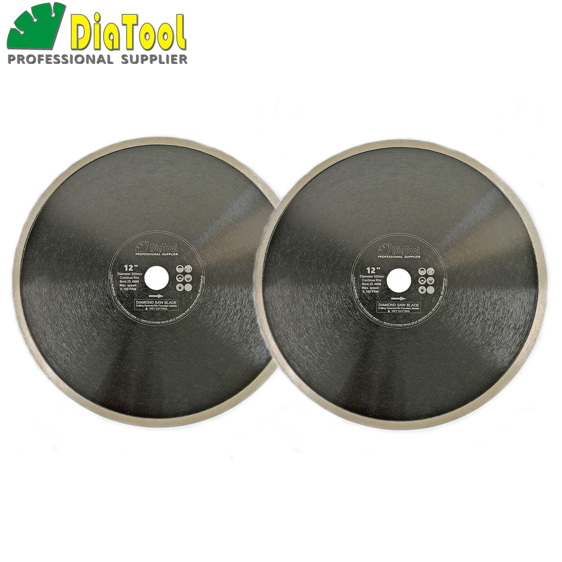 DIATOOL 2pcs Dia 12 inch Hot-pressed Continue Rim Diamond Blades Cutting Disc 300mm Porcelain Tile Ceramic Marble Saw Blade Disk diatool 2pcs 4 5 115mm hot pressed continue rim cutting diamond blade ceramic tile sawblade thin cutting disc diamond wheel