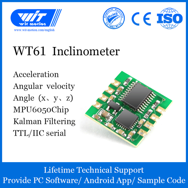 WitMotion WT61 AHRS MPU6050 6 Axis Module Digital Inclinometer, 3 Axis Accelerometer+Gyroscope, Tilt Angle& Vibration Measure