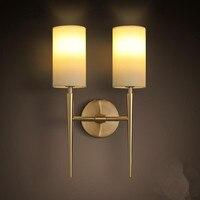 Роскошные фойе живой Американский E27 настенный светильник Спальня стены свет не лампы Настенные светильники золото светодио дный лампы для