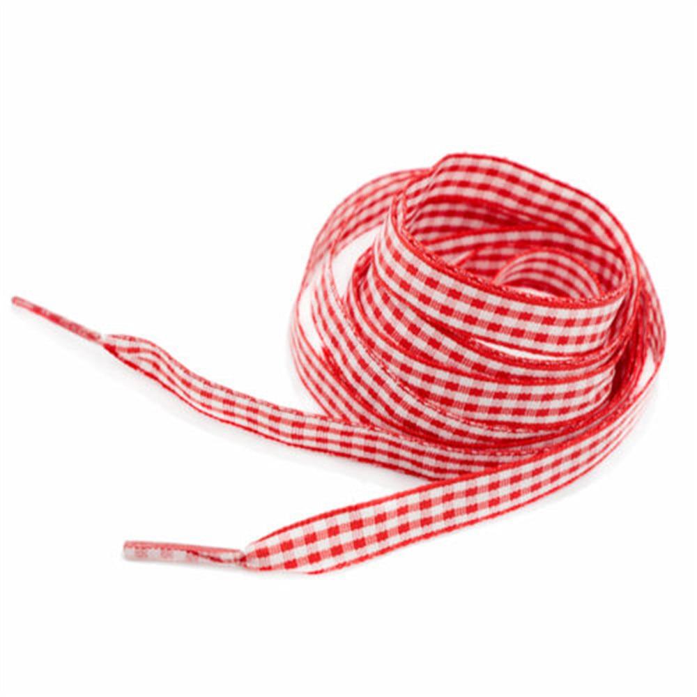 Silk Ribbon Grid Scottish Flat Canvas Athletic Shoelace Sport Shoe Laces Strings Bootlaces