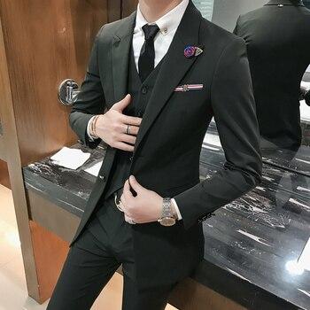 (Jacket+vest+pant)autumn winter Korean slim fit mens mid-long version groom wedding dress suit mens casual business suit CSMS017