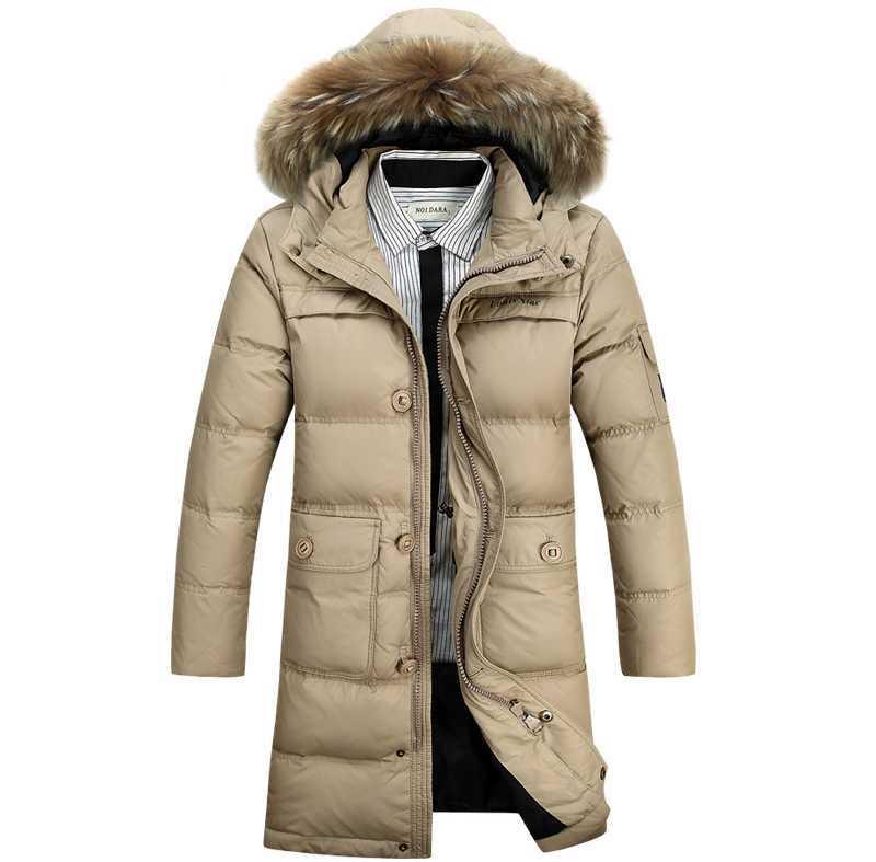 2015 Hot New Winter Parkas Men White Duck Long Jackets Men's Fur Collar Coats Overcoats Good Quality 3XL H4430
