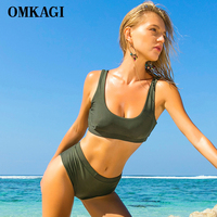 OMKAGI Brand Solid Swimwear Women Swimsuit Bikinis Set Sexy Push Up Swimming Bathing Suit Beachwear Bikini