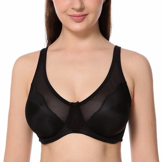 Women Comfort V-neck Full Coverage No Padding Underwire Minimizer Bra