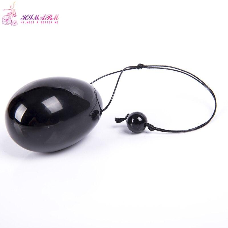 HIMABM 1 pcs natural Obsidian jade egg for Kegel Exercise 30*20mm Pelvic Muscle Vaginal Tightening Ben Wa ball yoni egg