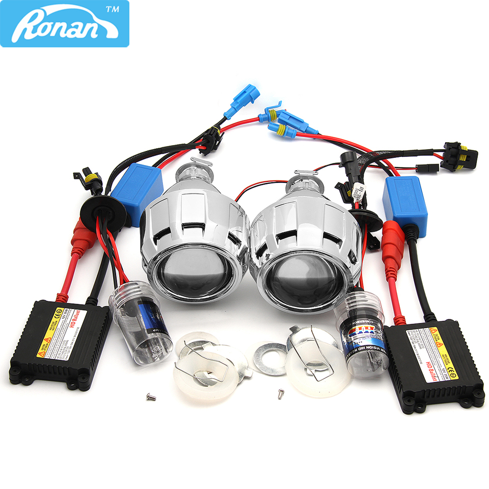 RONAN Bi-xenon HID 2.5inch Projector Lens with 12V AC 35W Xenon kit H1 Parking Car styling DIY Auto Lamp for H4 H7 Car Headlight 1pc 2 5 hid xenon ultimate bi xenon projector lens parking car styling headlight diy lamp for h1bulb with shrouds h4 h7 socket