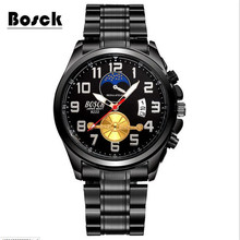 relogio masculino BOSCK black stainless steel quartz men's watches brand luxury fashion waterproof sports business watch relojes