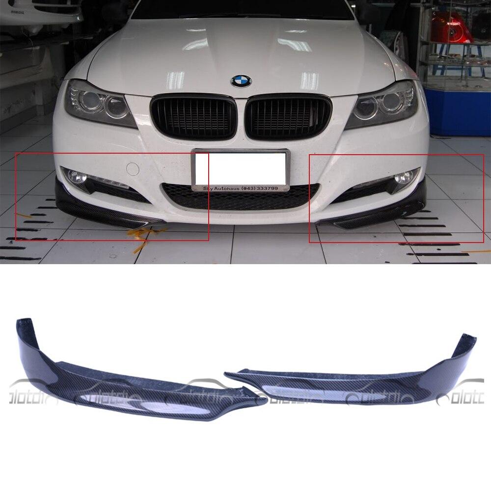 P Style voiture Style fibre de carbone avant pièces séparateur pare-chocs coin lèvre pour BMW E90 LCI OEM 2009-2011 2 pièces/ensemble OLOTDI