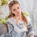 Princess Pajamas Women Sleepwear Female Long-Sleeve 100% Woven Cotton Pijama Lounge Set Royal Pyjama Lace Round Neck Floral 3714