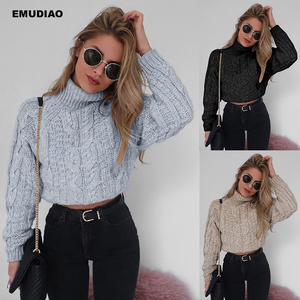 Casual Knitted Short Sweater Women Turtl
