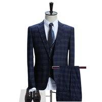 Plaid Suits Men 2017 Latest Coat Pant Vest Designer Daily Pant Suit Fashion Slim Fit Blue