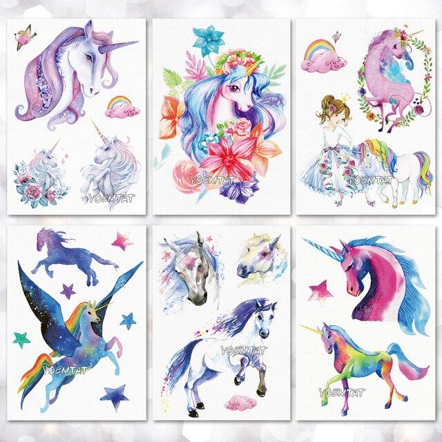 Impermeable tatuaje temporal pegatina rosa azul color unicornio ...