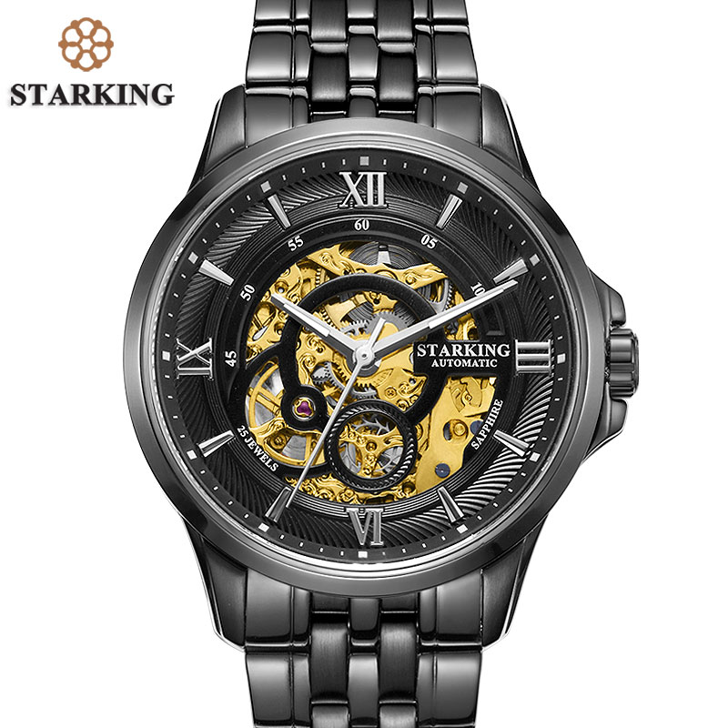 STARKING Men Skeleton Automatic Mechanical Watches Luxury Famous Brand Stainless Steel Sapphire Black Wrist Watch Urdu