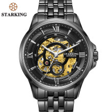 STARKING Men Skeleton Automatic Mechanical Watches Luxury Famous Brand Stainless Steel Sapphire Black Wrist Watch Urdu AM0182