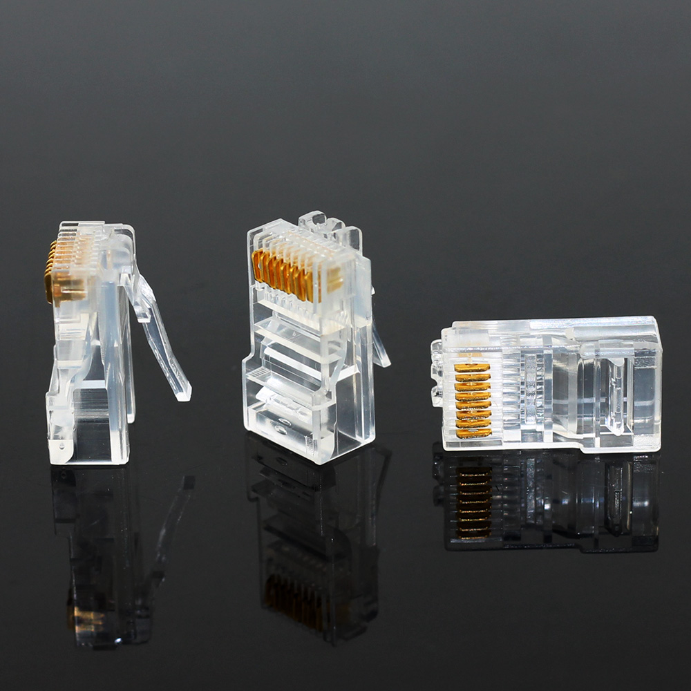 JONSNOW 20/50/100PCS RJ45 Ethernet Cables Module Plug Network Connector RJ-45 Crystal Heads Cat5 Cat5e Gold Plated Network Cable